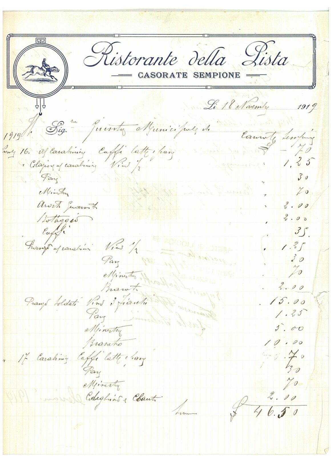 Osteria della Pista ricevuta del 1919