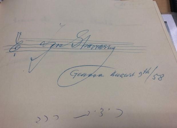 Libro degli Ospiti firma di Stravinskij